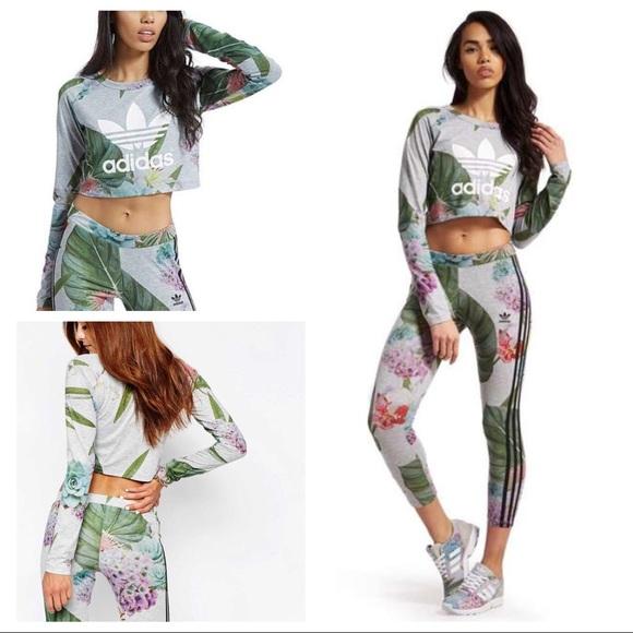 541bf0c8544b6 adidas Pants | Floral Crop Top Matching Bnwt Leggings | Poshmark